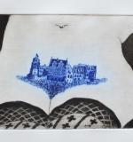 Heidelberger Lustschloss Aquatinta (blau)
